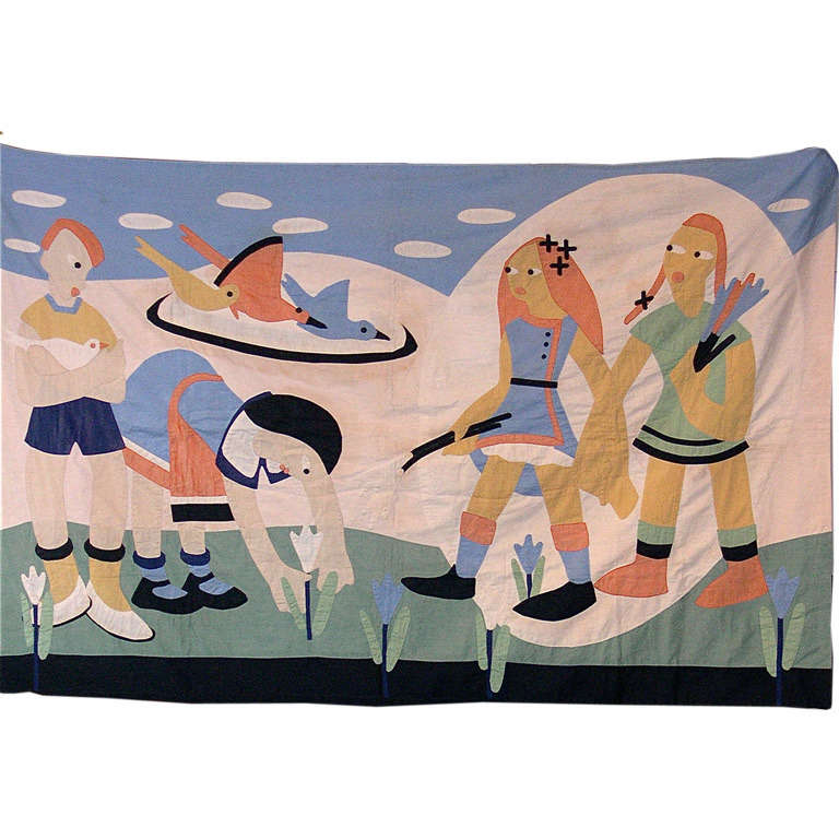 1930 39 S Wpa Art Deco Hand Appliqued Cotton Child 39 S Wall