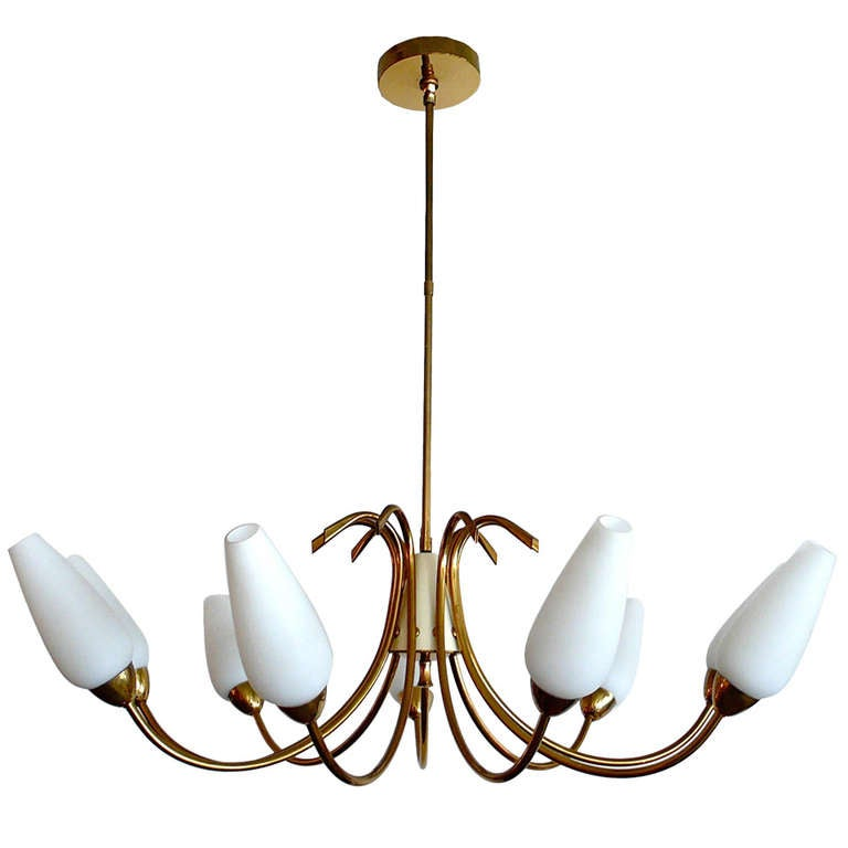 Outstanding Large 9 Globe Brass And Glass Chandelier At