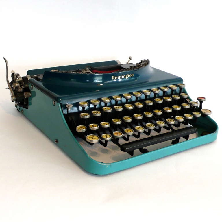 Fantastic Art Deco Original 1927 Blue-Turquoise Remington Typewriter 2