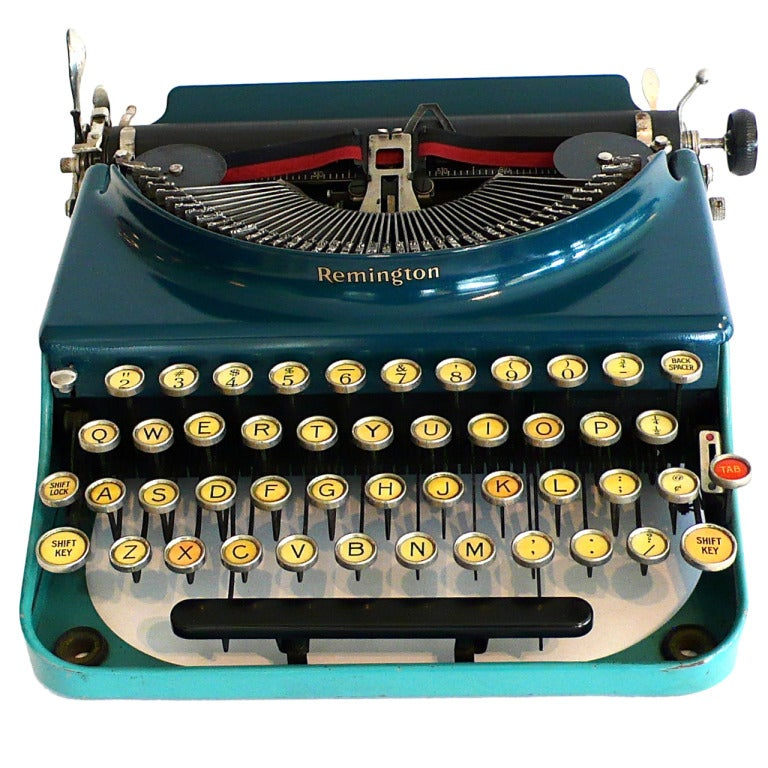 Fantastic Art Deco Original 1927 Blue-Turquoise Remington Typewriter 1