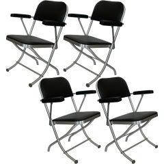 Set of 8 Warren McArthur Folding Chairs w/ Original Upholstery