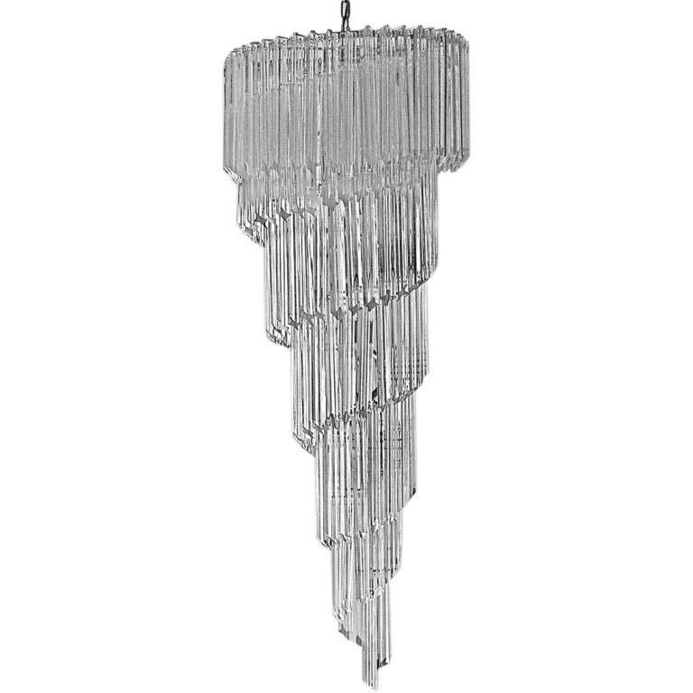 Murano Spiral Chandelier: Large Murano Crystal Cascading Spiral Chandelier By Camer