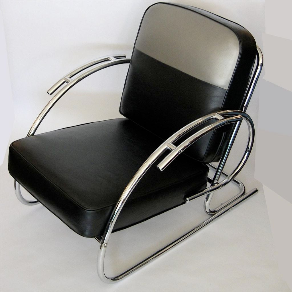 Pair of streamline moderne art deco tubular chrome chairs for Deco moderne