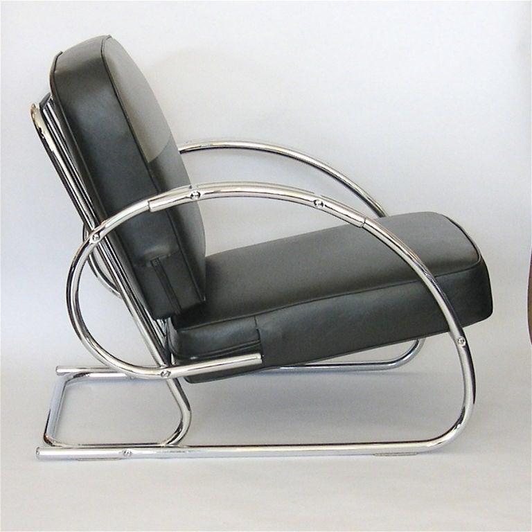 Pair Of Streamline Moderne Art Deco Tubular Chrome Chairs