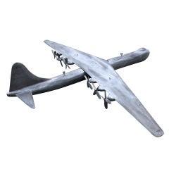 Huge Hand-Carved B-36 Wood Folk Art Airplane