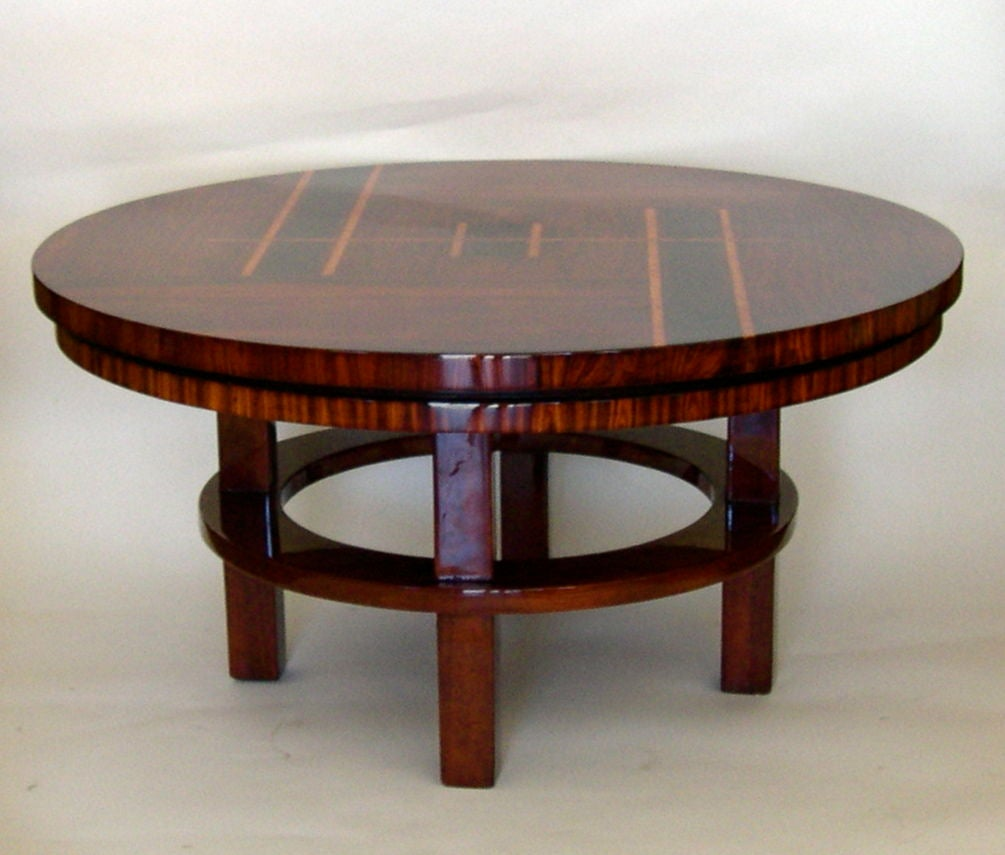 exceptional original art deco rosewood inlaid coffee table for