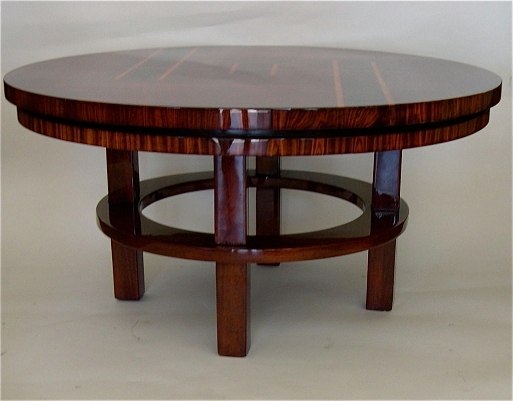 exceptional original art deco rosewood inlaid coffee table for sale at 1stdibs. Black Bedroom Furniture Sets. Home Design Ideas