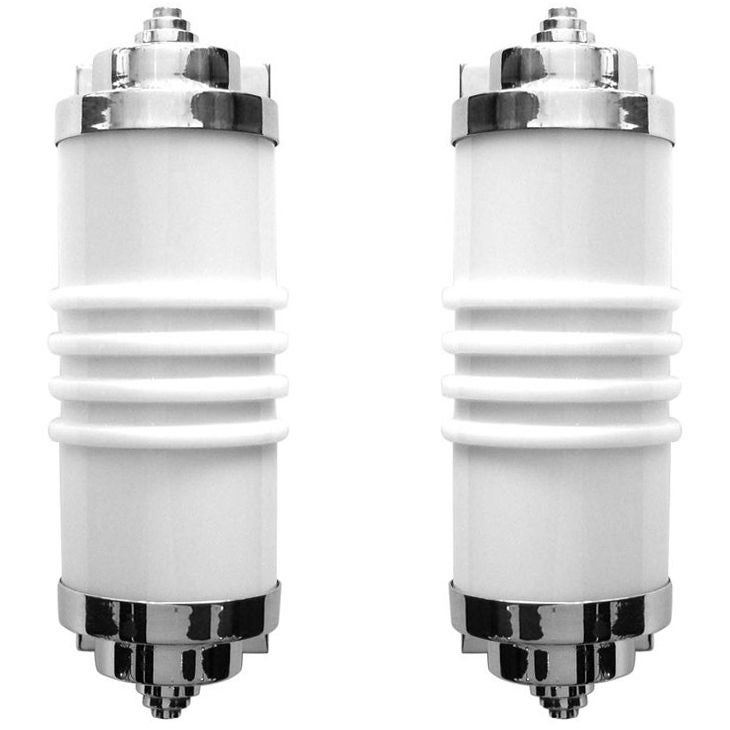 Rare pair of org streamline art deco sconces w molded glass for rare pair of org streamline art deco sconces w molded glass for sale at 1stdibs aloadofball Image collections
