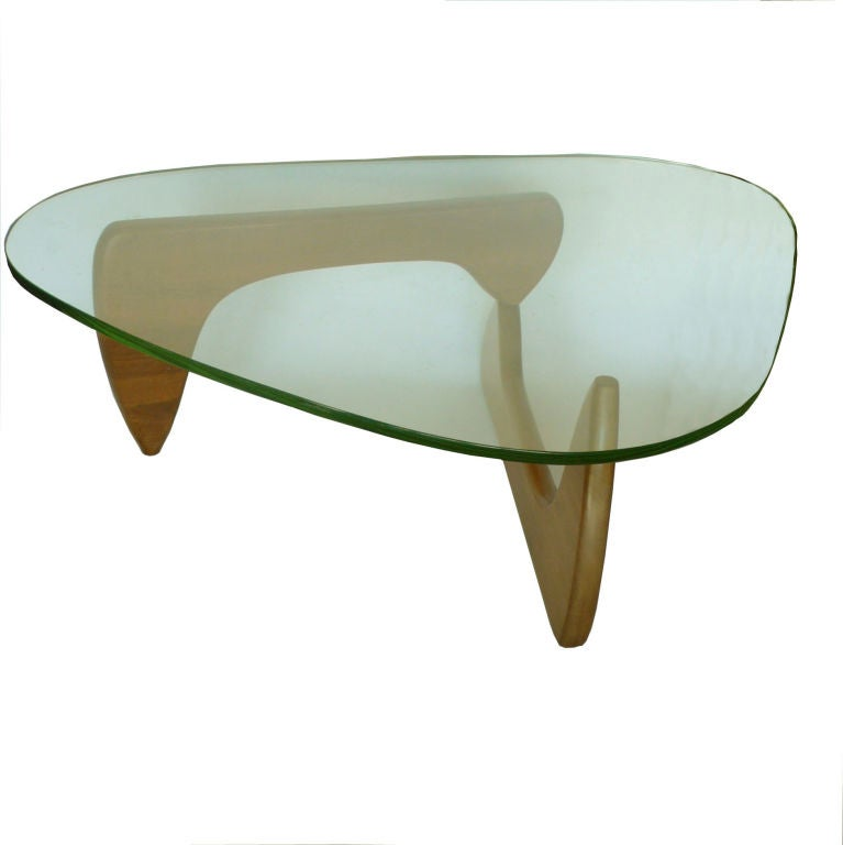 Vintage Walnut Noguchi Coffee Table W Original Green Glass At 1stdibs
