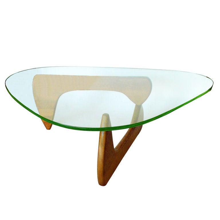Vintage Walnut Noguchi Coffee Table W Original Green Glass