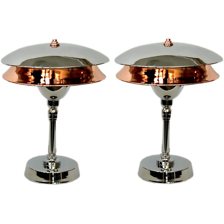 Pair Of Chrome And Copper Two Tiered Art Deco Aviator