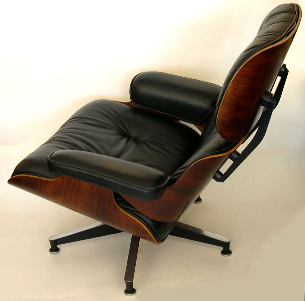 original eames 670 lounge chair and 671 ottoman in black. Black Bedroom Furniture Sets. Home Design Ideas