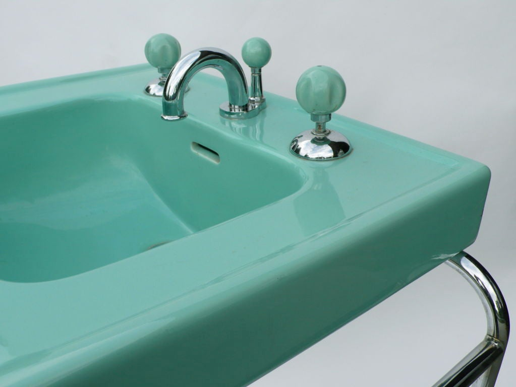 Iconic Original Streamline Art Deco Sink By George Sakier