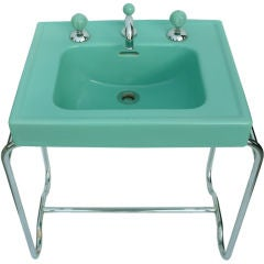 Iconic Original Streamline Art Deco Sink By George Sakier