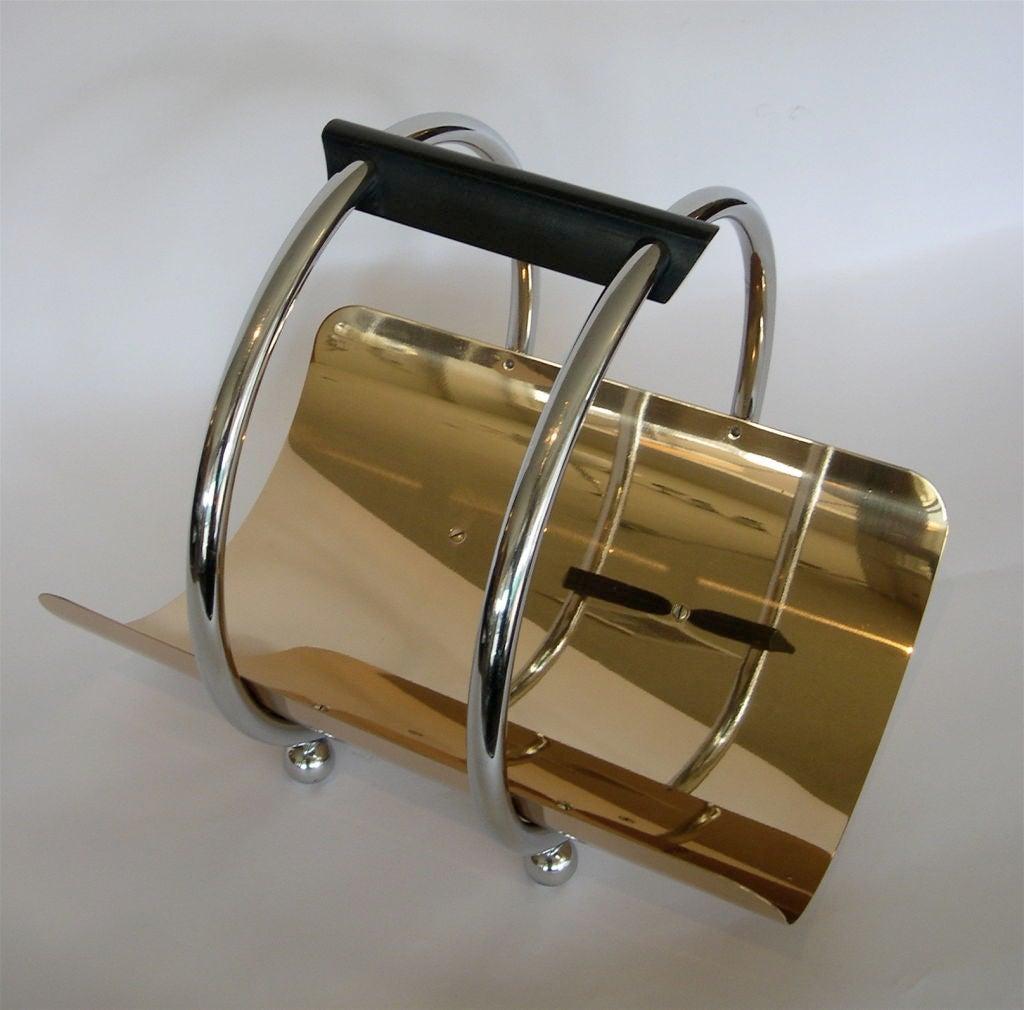 Bronze w/ Chrome Wood or Magazine Holder By Norman Bel Geddes 2