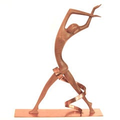 Impressive Art Deco Hagenauer Walnut & Copper Sculpture