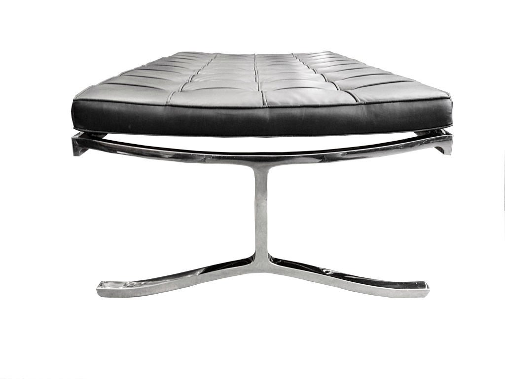 Stainless Steel Bench W Black Leather Cushion By Nicos