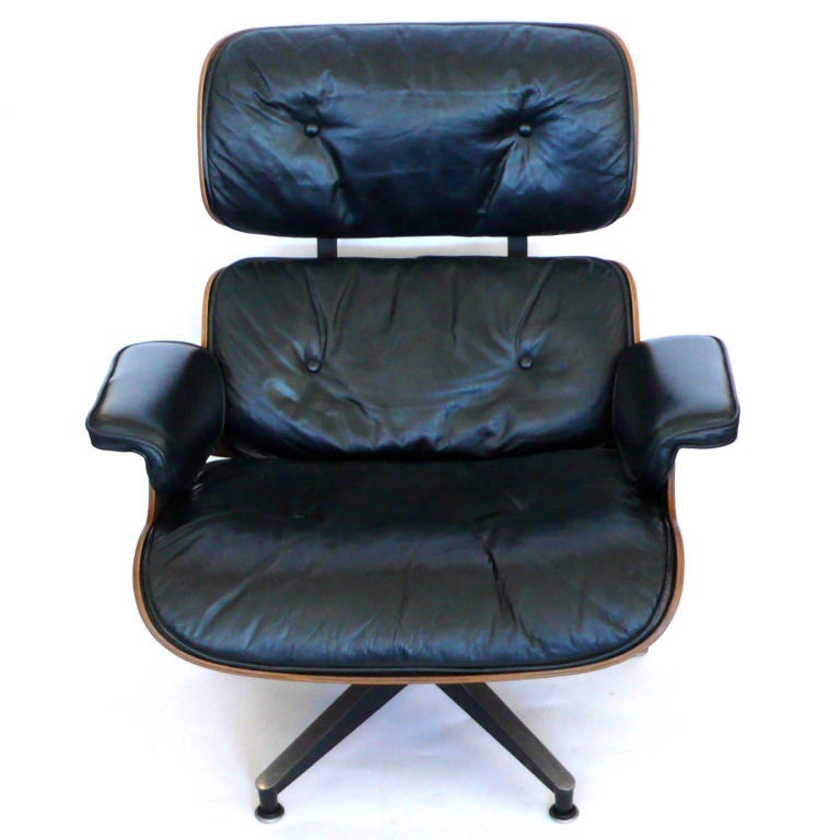 Original 1965 Eames 670 Lounge Chair And 671 Ottoman Black Leather At 1stdibs