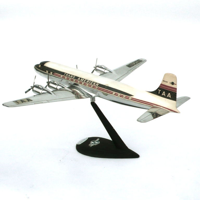 Rare Large Aluminum Model of a DC6 B w/ Original Decals & Props image 5