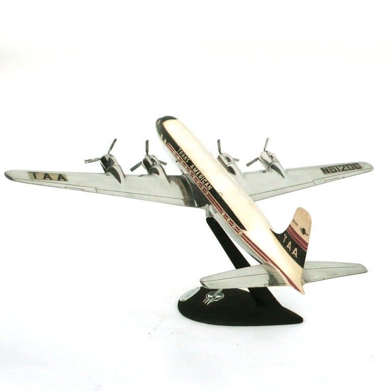 Rare Large Aluminum Model of a DC6 B w/ Original Decals & Props image 6