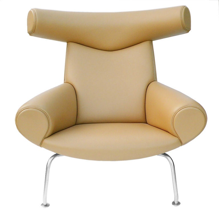 Ox Chair And Ottoman By Hans Wegner In Camel Leather At 1stdibs