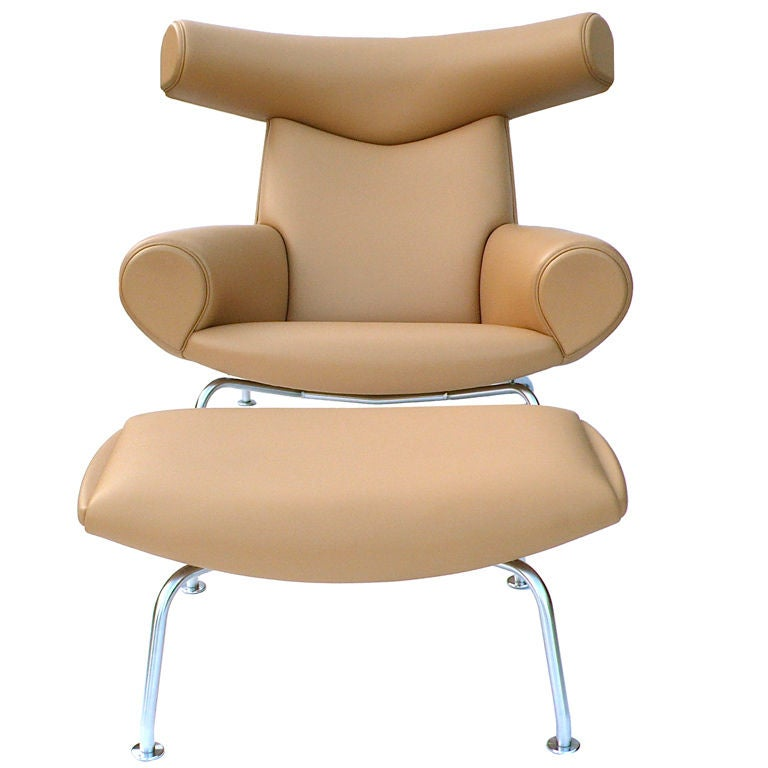Ox Chair and Ottoman by Hans Wegner in Camel Leather at