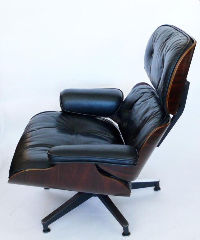 original 1970 eames 670 lounge chair and 671 ottoman black leather at 1stdibs. Black Bedroom Furniture Sets. Home Design Ideas