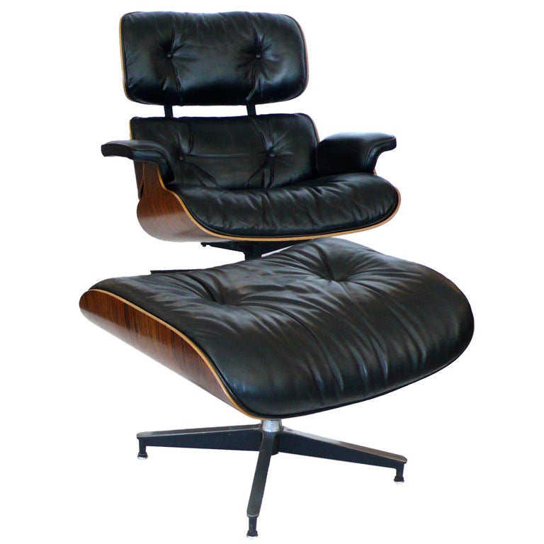 original 1979 eames 670 lounge chair and 671 ottoman black. Black Bedroom Furniture Sets. Home Design Ideas