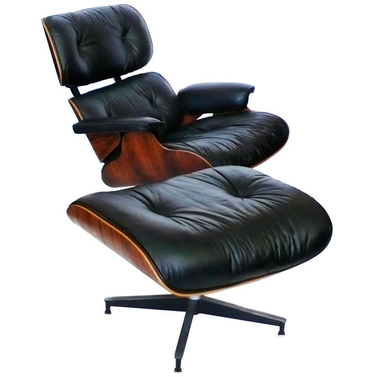 original 1978 eames 670 lounge chair and 671 ottoman black leather at 1stdibs. Black Bedroom Furniture Sets. Home Design Ideas