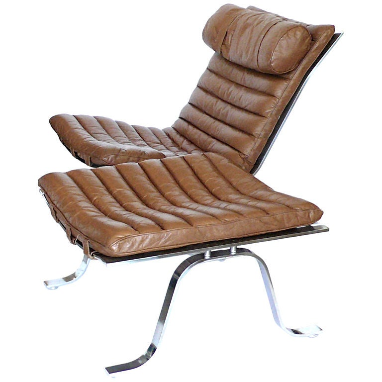 Original Camel Leather Ari Lounge Chair and Ottoman by