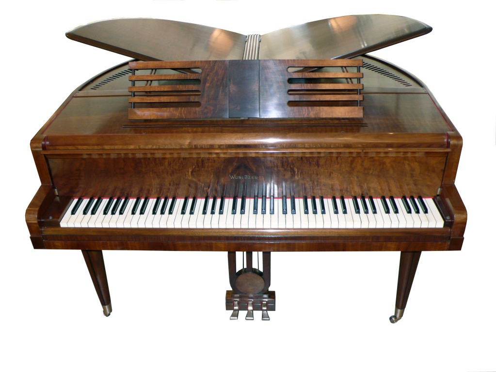 fine streamline art deco butterfly wurlitzer baby grand piano at 1stdibs. Black Bedroom Furniture Sets. Home Design Ideas