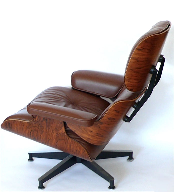 original eames 670 lounge chair and 671 ottoman in brown leather at 1stdibs. Black Bedroom Furniture Sets. Home Design Ideas