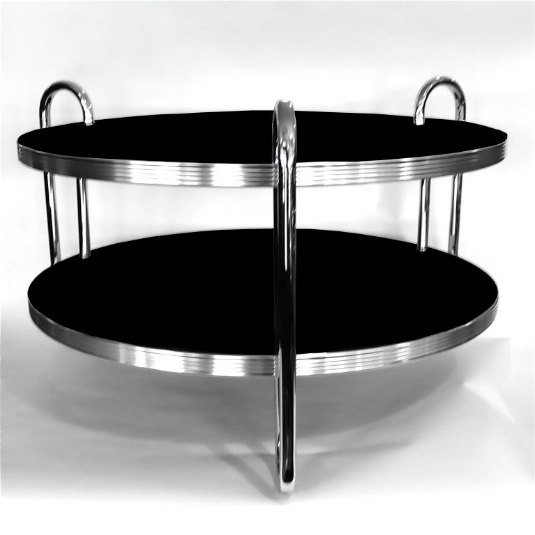 Streamline 1930 39 S Chrome And Black Coffee Table By Royal Chrome At 1stdibs