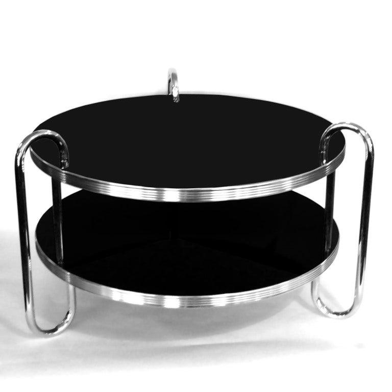 Black And Chrome Coffee Table Set: Streamline 1930's Chrome And Black Coffee Table By Royal