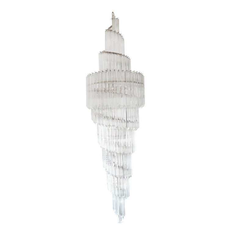Murano Spiral Chandelier: Double Spiral Murano Star Crystal Chandelier By Camer At