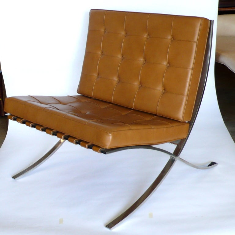 pair of knoll original mies van der rohe barcelona chairs label image