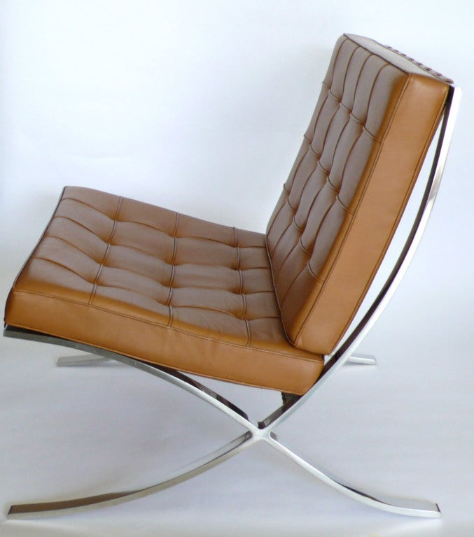 pair of knoll original mies van der rohe barcelona chairs label image. Black Bedroom Furniture Sets. Home Design Ideas