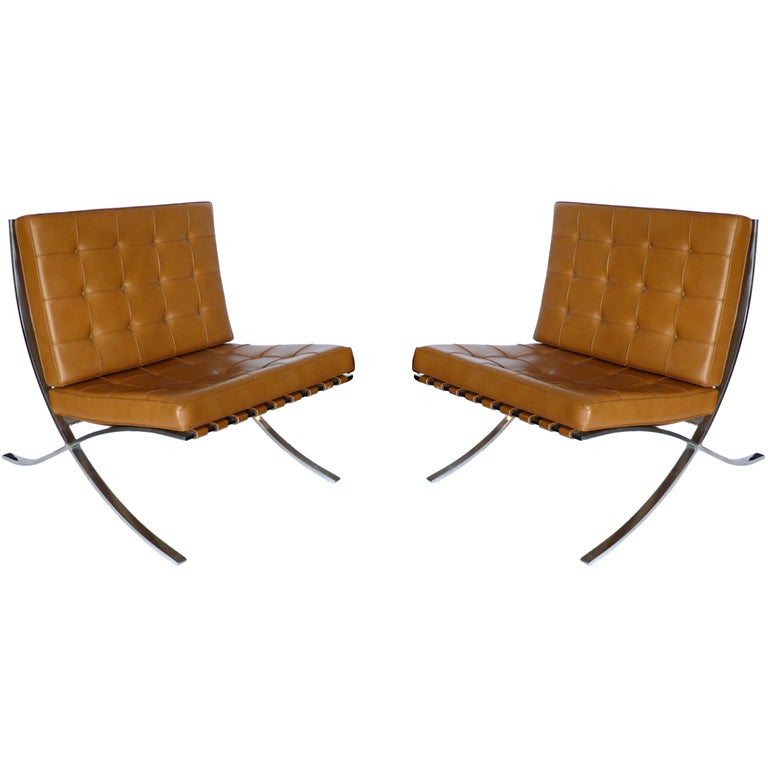 pair of knoll original mies van der rohe barcelona chairs label at 1stdibs. Black Bedroom Furniture Sets. Home Design Ideas