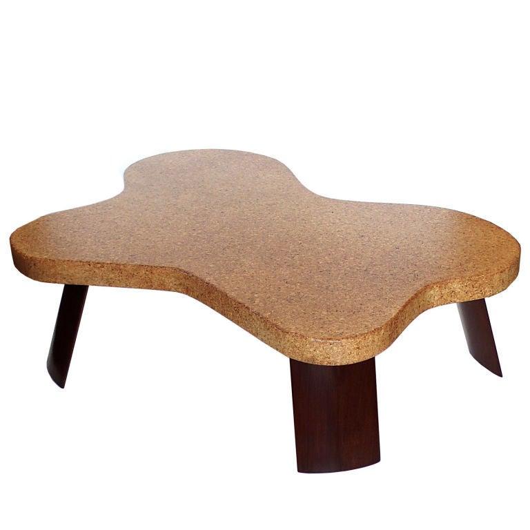 Rare Original Amoeba Cork Top Coffee Table By Paul Frankl Image 2