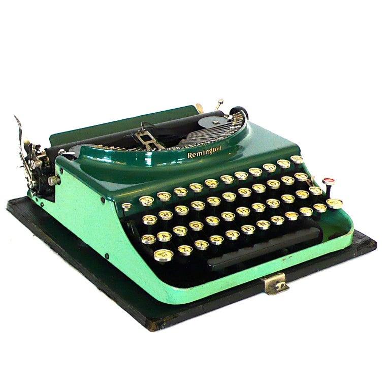 Fantastic Art Deco Original 1927 Green Remington Typewriter 2