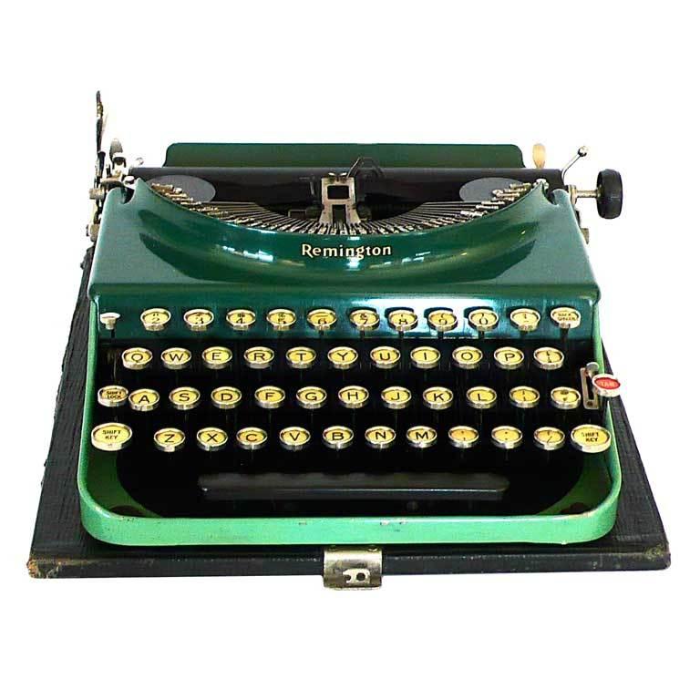 Fantastic Art Deco Original 1927 Green Remington Typewriter 1