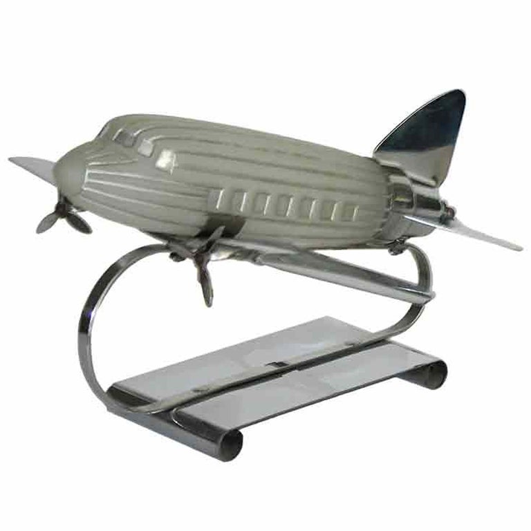 Original Art Deco Airplane Lamp with Illuminating Glass 1 - Original Art Deco Airplane Lamp With Illuminating Glass For Sale