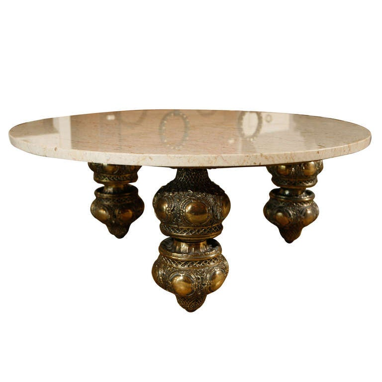 Brass And Marble Morrocan Style Coffee Table At 1stdibs