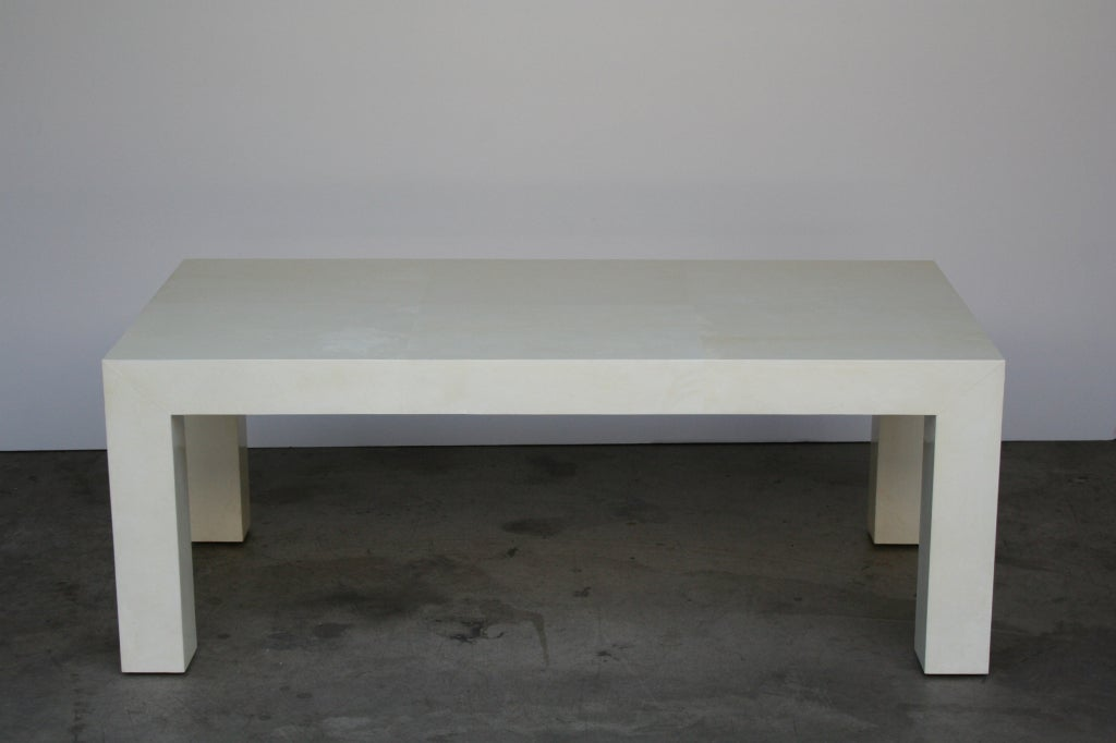 Parsons Style Cocktail Table In Ivory Parchment At 1stdibs