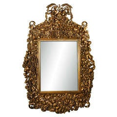 Monumental Carved Italian Baroque Antiqued Mirror