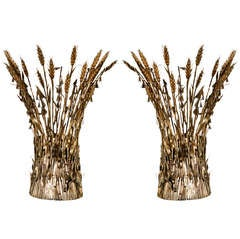 Mid-Century Pair of Italian Gilt Wheat Sconces