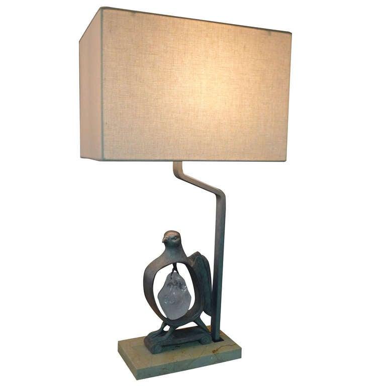 Paul Marra Cast Bronze Rock Dove Lamp in Silvered Bronze