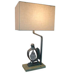 Paul Marra Cast Bronze Rock Dove Lamp in Silvered Bronze