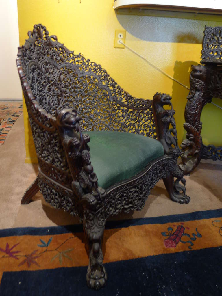 This pair of large burmese arm chairs is no longer available - Intricately Hand Carved Burmese Chair 1880s 3