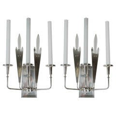 Pair Large-Scale Silver Plated Parzinger Style Sconces